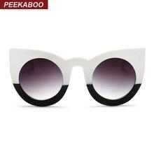 Прятки 2017 мода sexy круглый cat eye солнцезащитные очки градиент белый черный большой дамы солнцезащитные очки для женщин кошачий глаз роскошь óculos