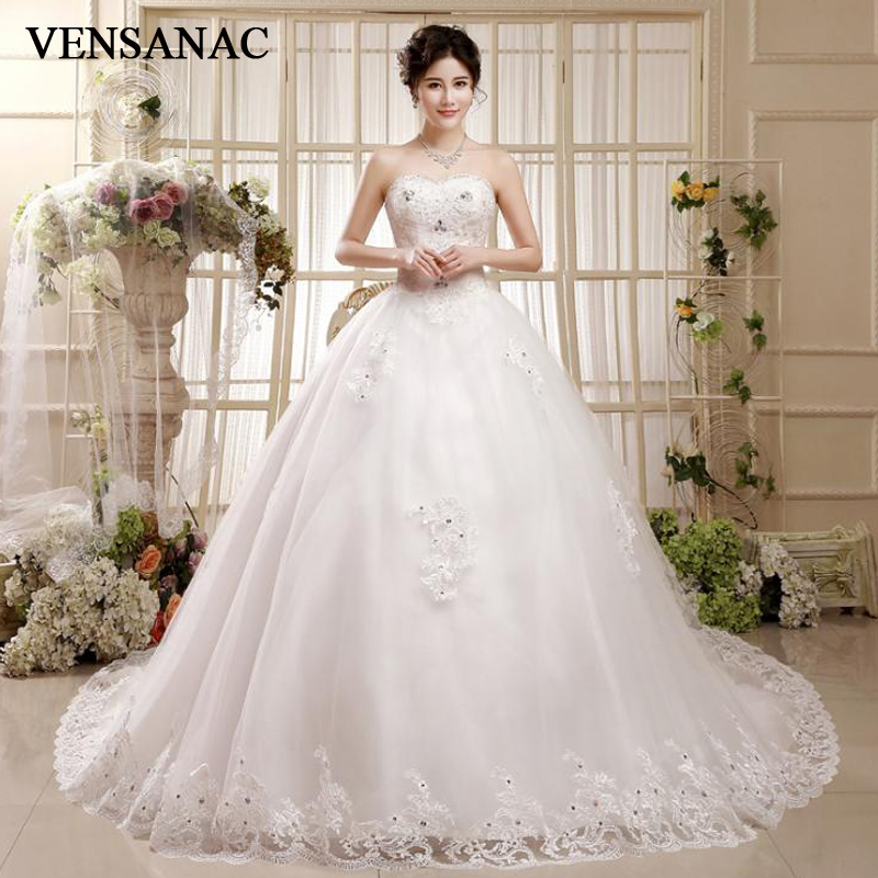 VENSANAC 2018 Crystal Strapless Lace Appliques Court Train Ball Gown Wedding Dresses Sequined Backless Bridal Gowns