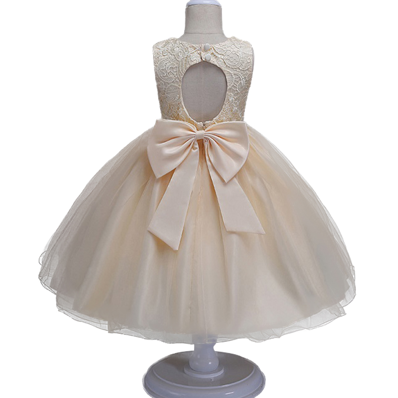 New Kids baby lace princess dress for girl formally elegant birthday party dress Big bow tutu princes  dress Baby girls clothes