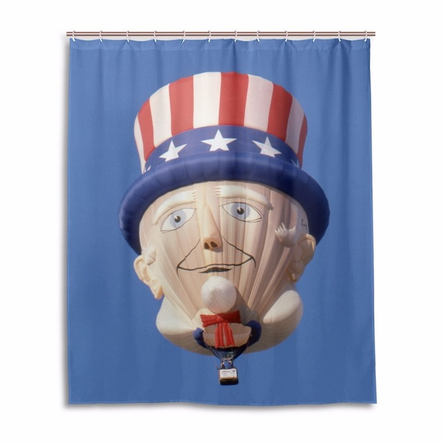 Bathroom Hot Air Balloon Shower Curtain And Hooks 60x72 Inch Mildew Anti Home Decor Polyester Fabric Curtains For