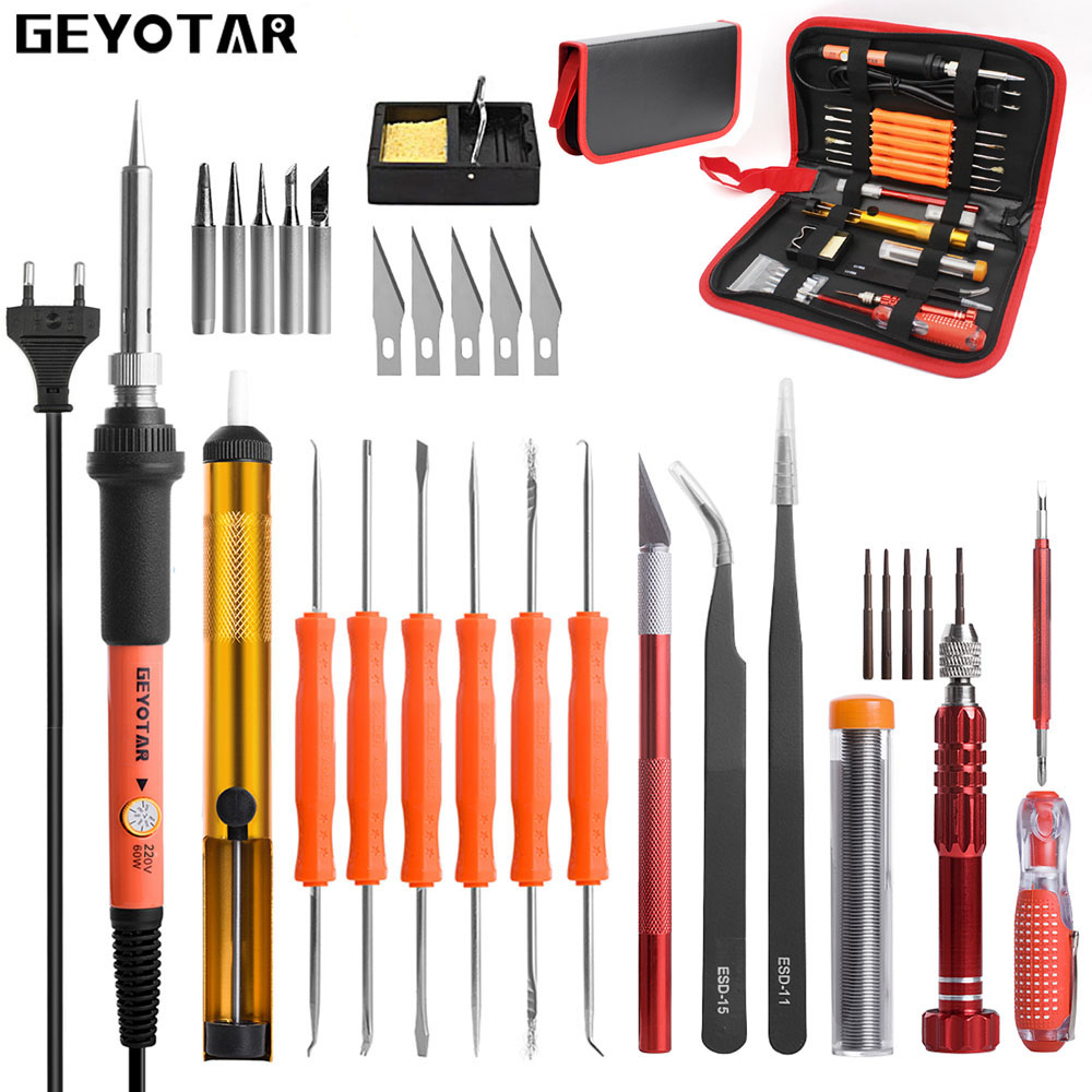 GEYOTAR EU Plug 220V 60W Electric Soldering Iron Kit Screwdriver Tweezers Tin Wire Desoldering Pump Knife Welding Repair Tools
