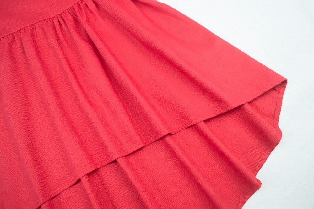 Cielarko Vestido sin espalda de verano para niñas Rojo Sólido - Ropa de ninos - foto 5