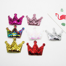 5.5x3.8cm 30pcs Glitter Sequin Paillette Crown Padded Patches Appliques For Clothes Sewing Supplies DIY Hair Bow Decoration