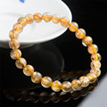 Free Shipping Fashion Charm Bracelet Femme Women Stretch Natural Titanium Gold Rutilated Quartz Crystal Round Bead Bracelet
