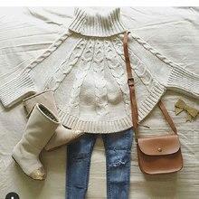 Новые свитера для маленьких девочек, детский хлопковый свитер с накидкой, вязаный пуловер с воротником под горло, Рождественская Одежда для девочек, DQ730