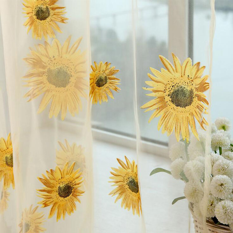 5 Colors Green Polyester Curtains Tulle For Living Room Kitchen Sunflowers  Printed Translucidus Window Screening Home Textile In Curtains From Home U0026  Garden ...