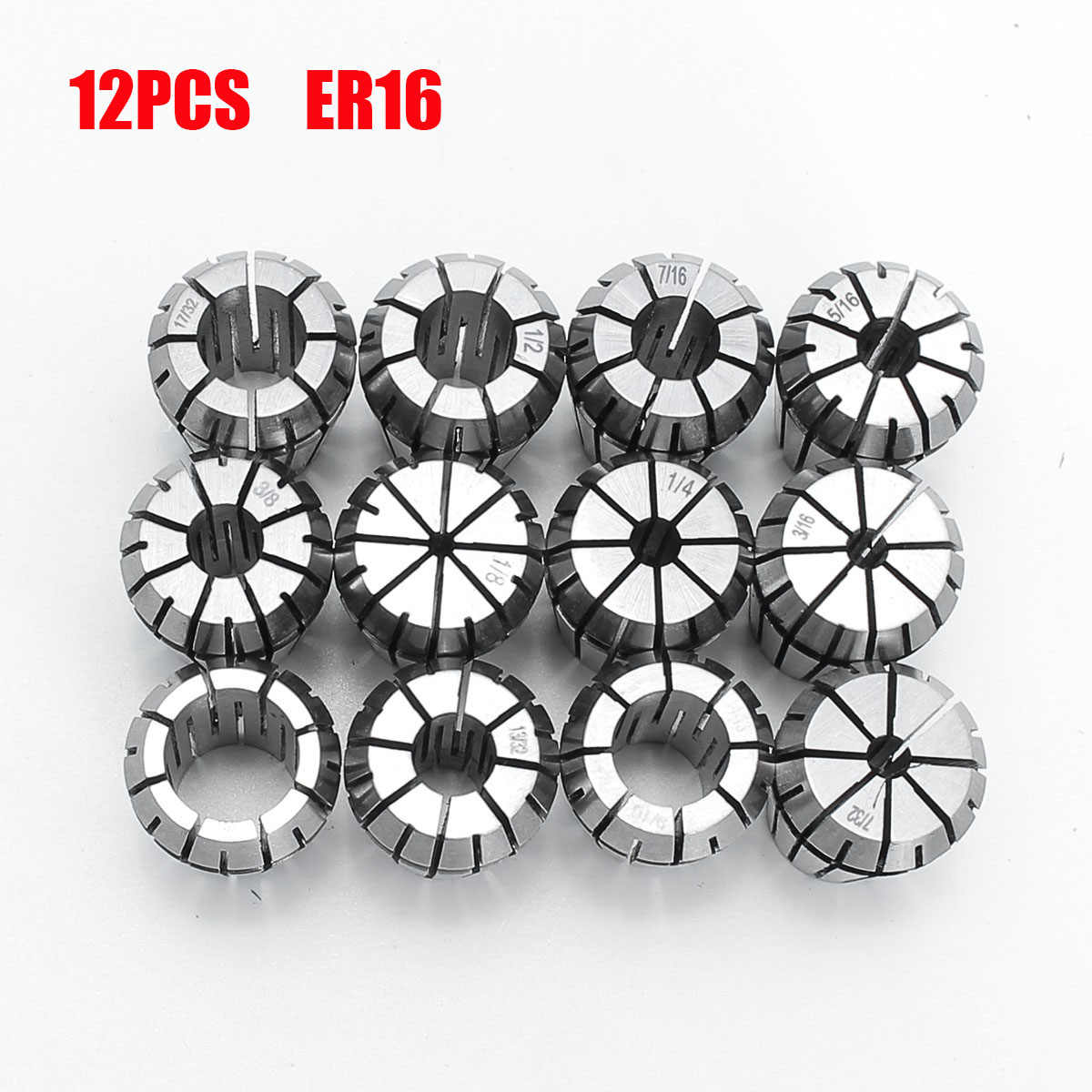 12pcs ER16 Spring Collet Set Chuck Collet 1/32 to 3/8 Inch Machine Tool for CNC Milling Lathe Tool Spring Steel Tool Holder