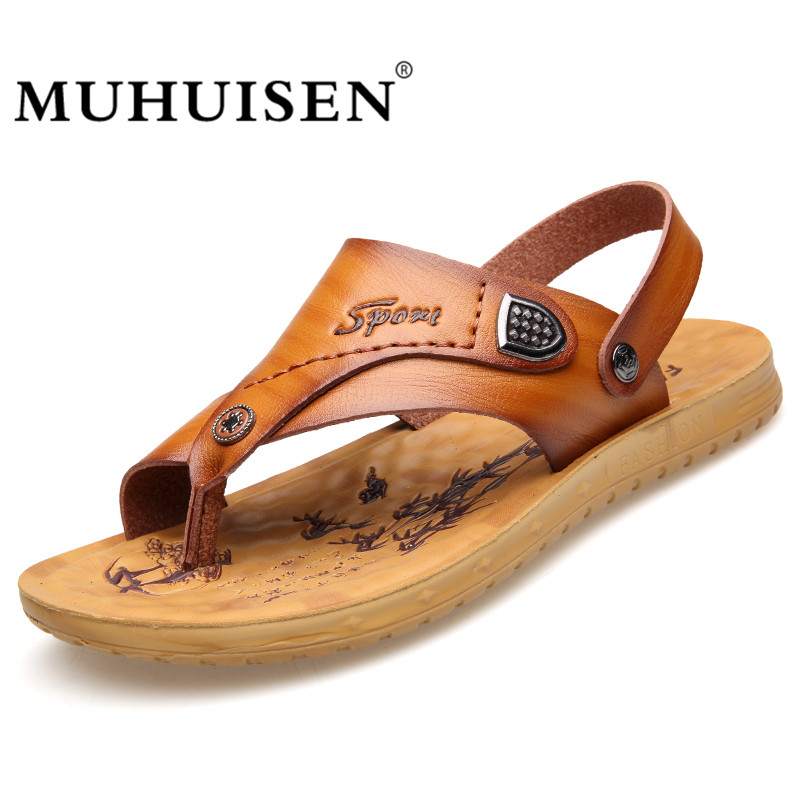 Muhuisen Mens Sandals Pu Leather Summer 2018 Brand New Beach Men Flip-flops Sandals Breathable Slippers Men Casual Shoes