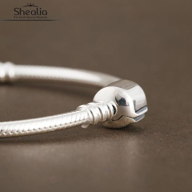 Sterling Silver Clover Clip Snake Chain Bracelet