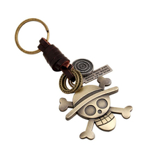 11 Styles 5*4CM Japanese Anime One Piece Keychain Metal Pirates Skull Pendant Keyring For Teenager Men Cowhide Leather Key Chain