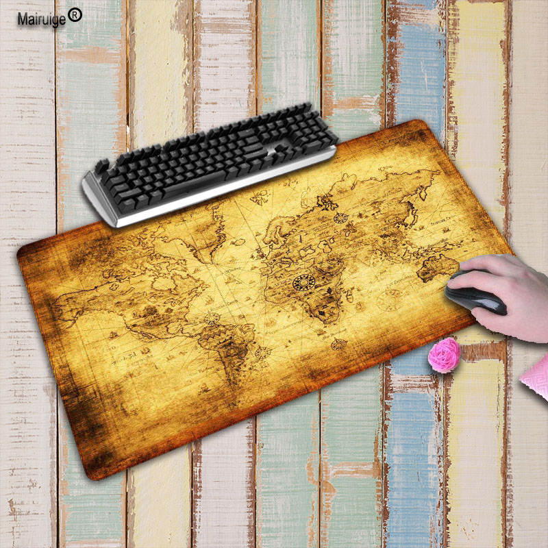 Mairuige Super Large Size 90cm*40cm  Old World Map Mouse Pads Speed Computer Gaming Mouse Pad Locking Edge Table Mat For CSGO