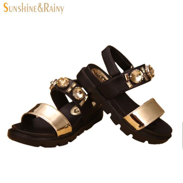 Diseñador de la marca Para Niños Chicas Sandalias de diamantes de Imitación Zapatos de Fiesta de La Princesa Del Verano Sandalias de Playa Niños Pu Chaussure