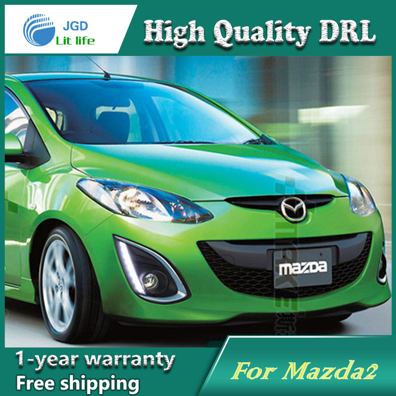 Free shipping !12V 6000k LED DRL Daytime running light case for <font><b>Mazda</b></font> <font><b>2</b></font> Mazda2 2012-2015 <font><b>fog</b></font> <font><b>lamp</b></font> frame <font><b>Fog</b></font> light Car styling image
