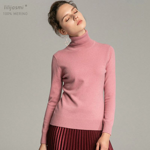 Image 1 - Trend Colors Women 100% Real Merino Wool Turtleneck Pullover Sweater Womens Solid Rib Collar Sweaters Knit Top Female Jumper