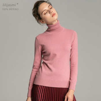 Trend Colors Women 100% Real Merino Wool Turtleneck Pullover Sweater Women's Solid Rib Collar Sweaters Knit Top Female Jumper - DISCOUNT ITEM  25% OFF All Category