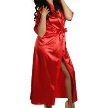 Womens Fashion Satin Solid Sleepwear Nightgowns Sleepshirts Nightdress Mid-calf Gown Wrap V-neck Half Sleeve Spring Autumn Q5162