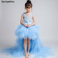 купить High Low Flower Girl Dresses for Weddings Lace Ball Gown Evening Party Dresses for Girls Kids First Communion Dress 2018 по цене 4522.06 рублей