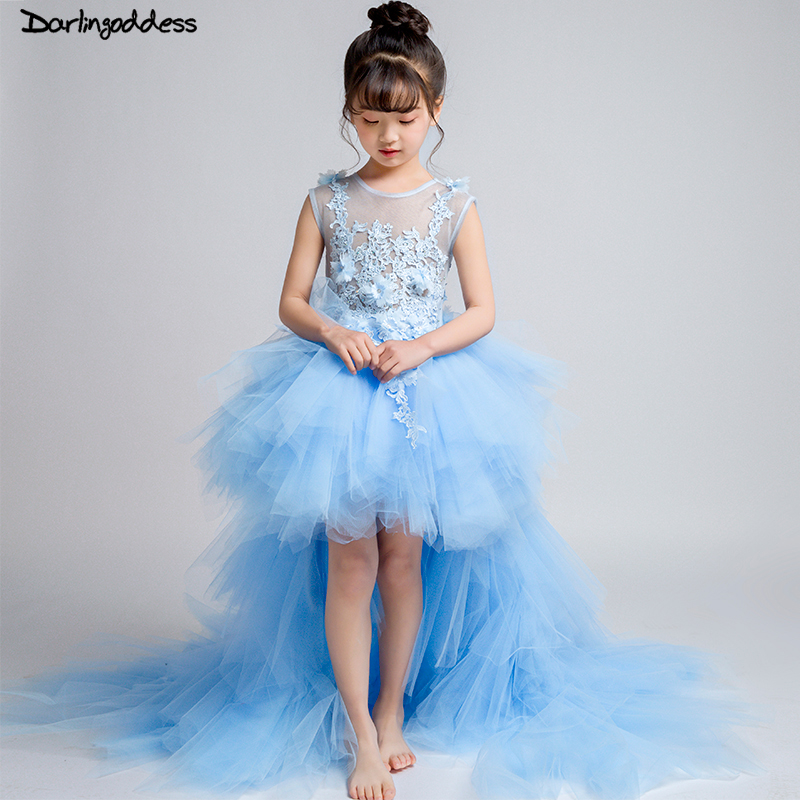 High Low   Flower     Girl     Dresses   for Weddings Lace Ball Gown Evening Party   Dresses   for   Girls   Kids First Communion   Dress   2018