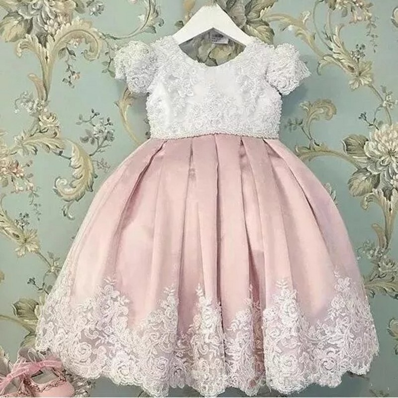 Pink Lace   Girls   Pageant Gowns With Sleeves Big Bow Back Floor Length   Flower     Girl     Dresses   For Wedding Baby Party   Dress   Appliques