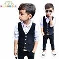 Nuevos Bebés Arropan Caballeros Niños chaleco + pantalones 2 pcs estilo británico prince ropa conjuntos niños boy traje formal b012