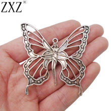 ZXZ 5pcs Antique Silver Large Goddess Nouveau Butterfly Fairy Charms Pendants for Jewelry Making Findings 59x58mm(China)