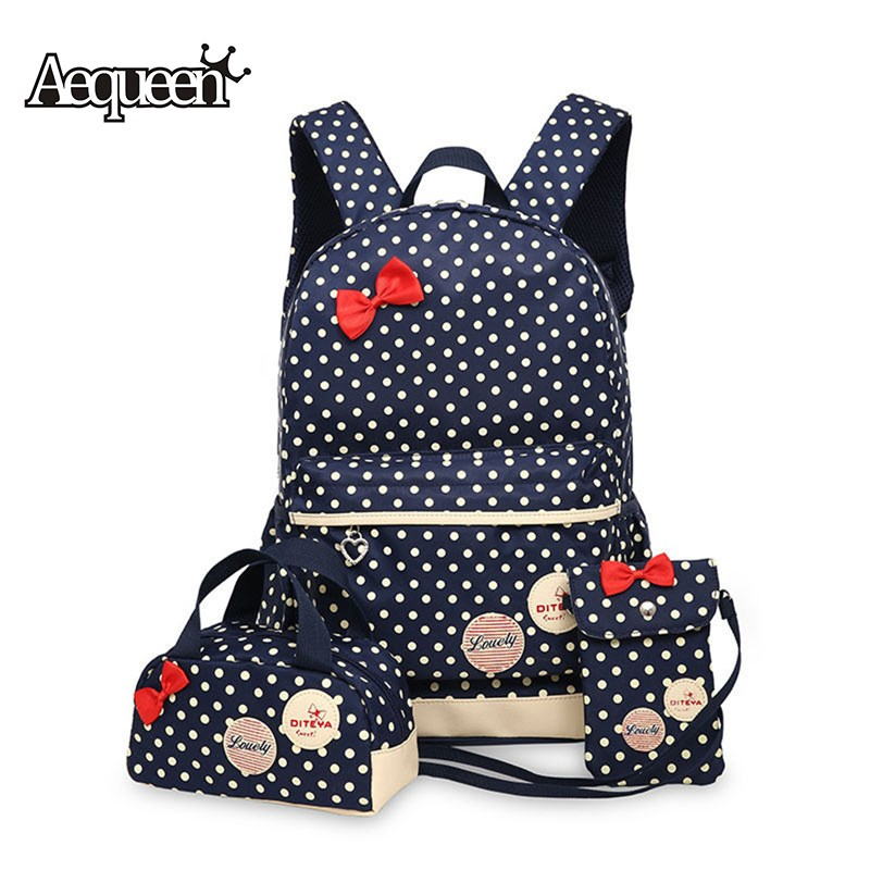 AEQUEEN 2017 Children Cute Bow Dot Printing Backpack Bags School Backpacks Kids Travel Bookbag - China Brand Online Store store