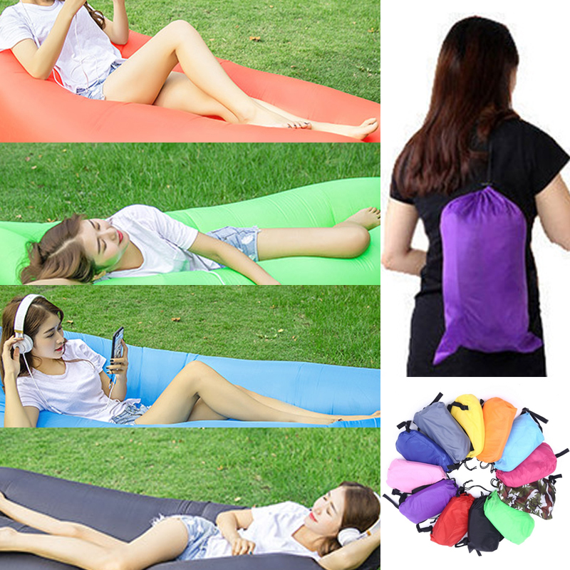 Fast Inflatable Lazy bag Air Sleeping Bag Camping Portable Air Banana Sofa Beach Bed Air Nylon Sofa Laybag 210*70cm / 240*70cm ...