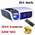 3000 lúmenes original luxcine c5d dlp mini proyector del obturador 2d a 3d con HDMI 1280*800 proyector dlp 1080 P de Vídeo para negocio
