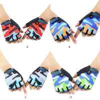 Детские камуфляжные нескользящие перчатки для езды на велосипеде с половинными пальцами, Дышащие Короткие перчатки без пальцев для заняти...