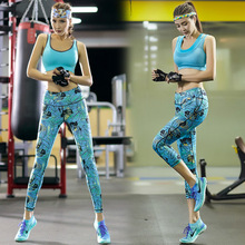 Women Yoga Suits Breathable Fitness Bra + Yoga Fitness Cropped Trousers Elastic Tights Pants Print Sports Running Gym Leggings