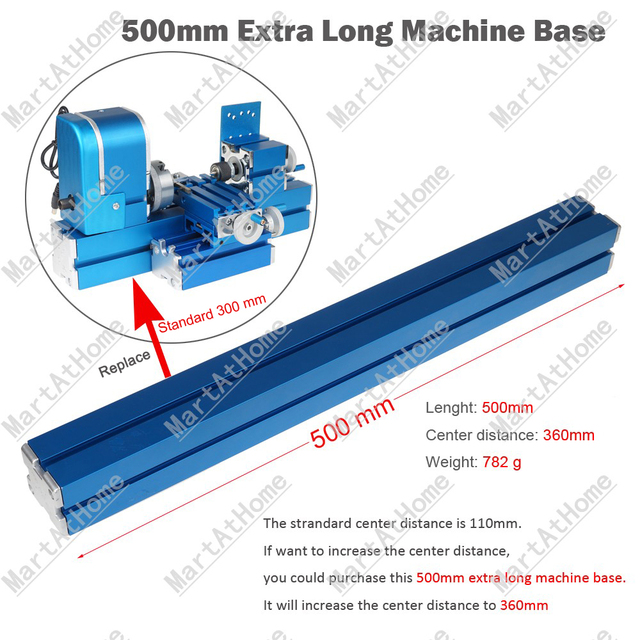 Extra-long Mini Woodworking Lathe Base Increase Center Distance to 360mm from 110mm