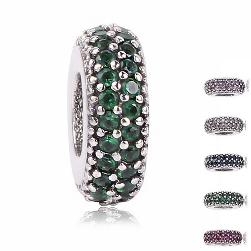 Ranqin 5 Color Fit Pandora Charms Original Bracelet Charms 925 Silver Bead Abstract Zircon Beads Jewelry Making Winter DIY