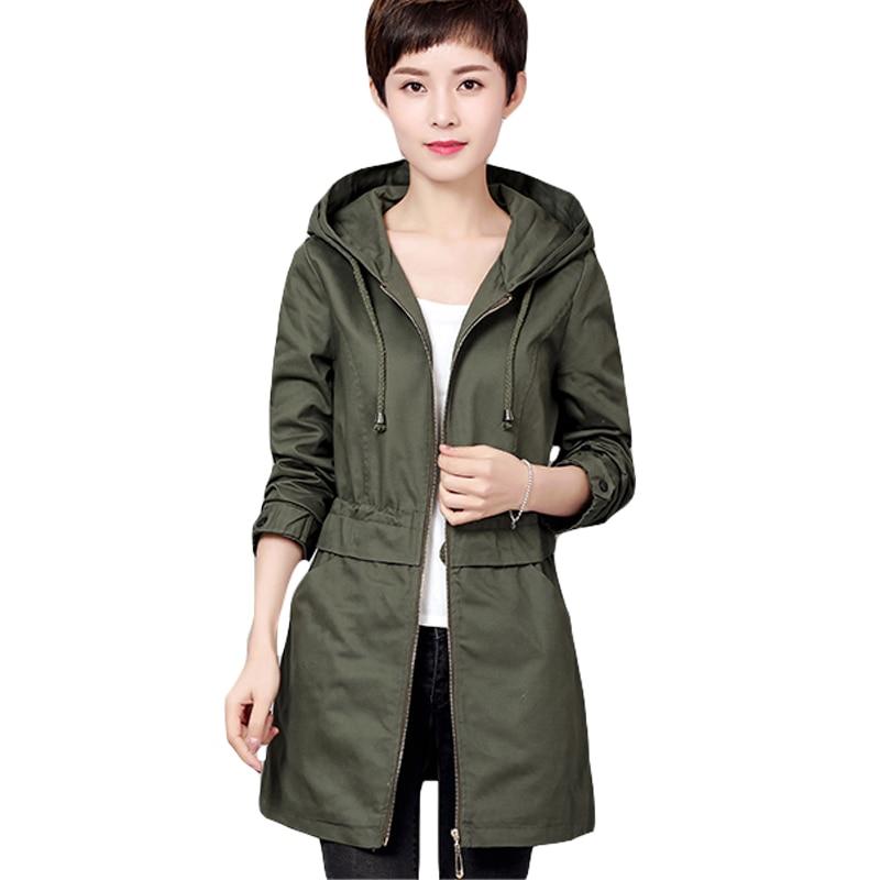 Zipper Up Mid-long Loose Cotton   Trench   Coat Women Plus Size 2017 New Fashion Mujer Windbreaker Female Abrigo with Hood XH251