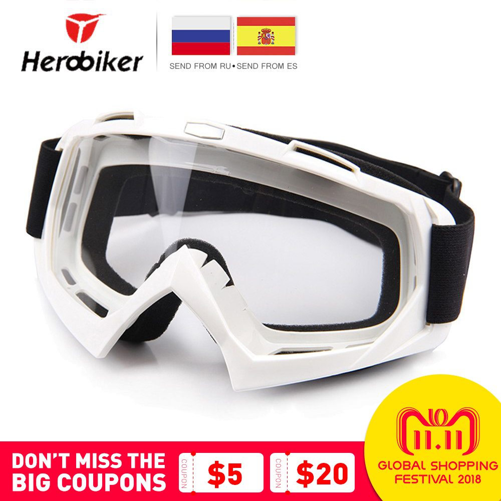 HEROBIKER Motorcycle Riding Goggles Ski Snowboard Skate Glasses Motocross Off-Road Dirt Bike Downhill Enduro Dustproof Eyewear все цены