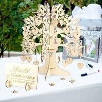 Diy Wooden Wedding Party Table Decoration Guest Book Tree Shape Visit Sign Guest Book Hearts Pendant Party Drop Ornaments Decor