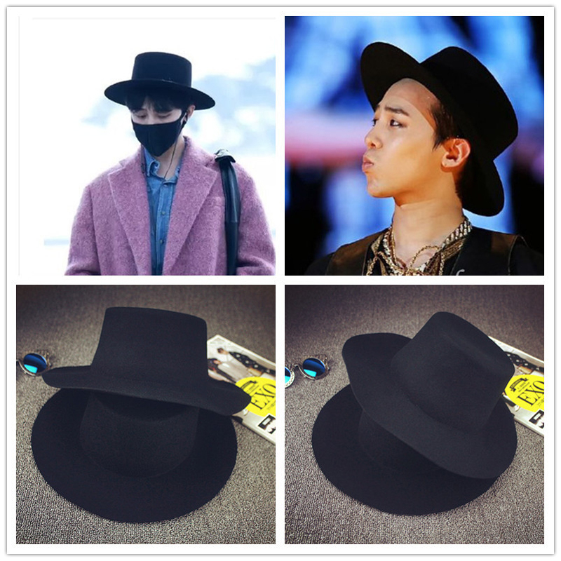 BIGBANG GD black fedora hats for men Pure Wool Large brim Winter red fedora  hat  HUB023 -in Fedoras from Apparel Accessories on Aliexpress.com  14ddf06a8c4
