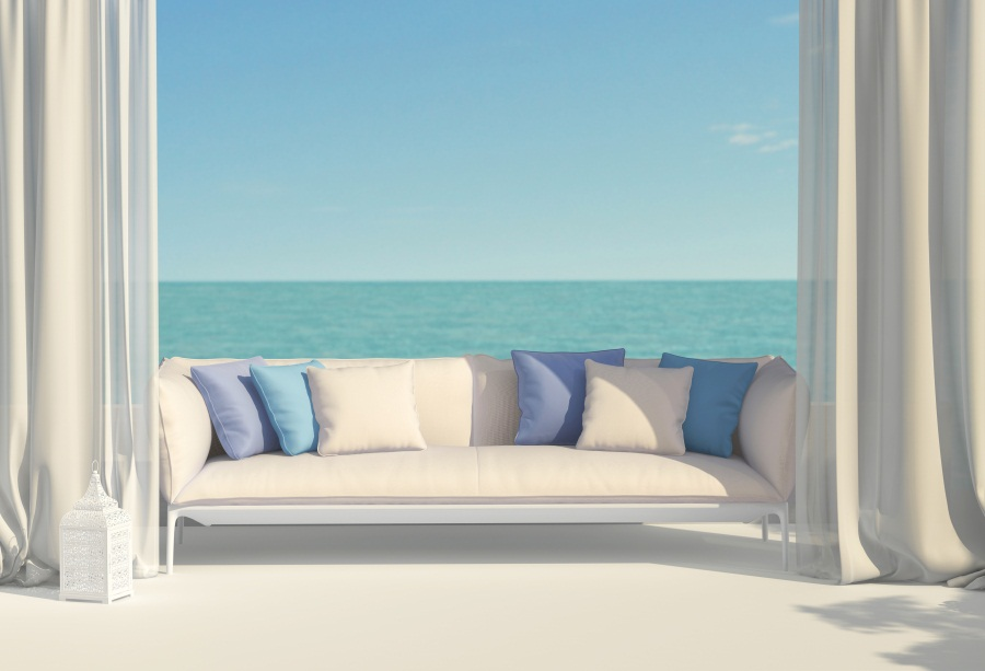 Laeacco Sea Bench Pillow Curtain Interior Photographic Backgrounds Customized Photography Backdrops For Photo Studio