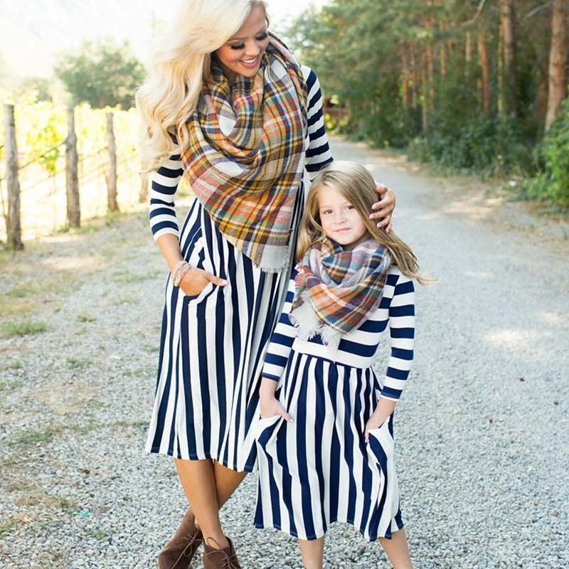 f75be4ab52 Aliexpress.com : Buy New Family Dress Mother Daughter Spring Fashion  Striped Family Look Matching Clothes Mom And Daughter Dress Family Clothing  from ...