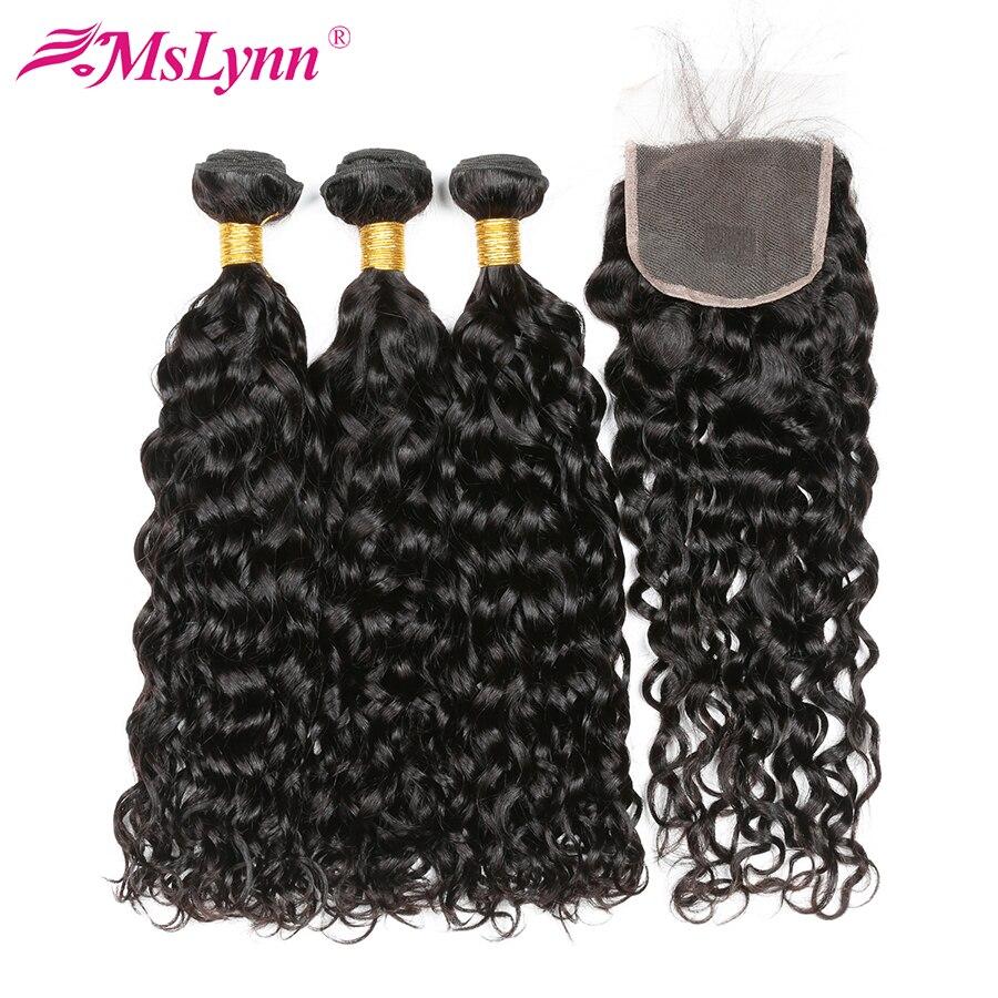 Mslynn Vague D'eau Brésilienne Bundles Avec Fermeture de Cheveux Humains 3 Bundles avec Dentelle Fermeture 4 x 4 Non Remy Cheveux Weave Extensions 4 Pc