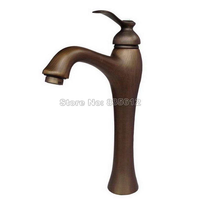 Deck Mounted Bathroom Basin / Kitchen Vessel Sink Sink Single Handle Single Hole Faucet Antique Brass Mixer Tap Wan033 bathroom single handle vessel sink faucet deck mount one hole basin mixer tap