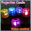 Comercio al por mayor 30 unids Colorido de proyección de luz de vela, LED regalo lamparita eléctrica, golpe control de Voz luz de la vela