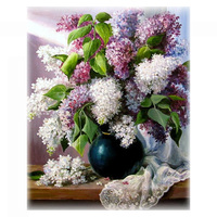 Needlework,DIY DMC 14CT Unprinted Cross stitch,Sets For Embroidery kits,Lilac Flowers Counted Cross Stitching,Wall Home Decor
