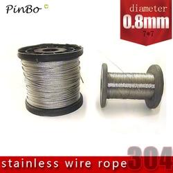 100 m 304 cabo de aço inoxidável corda de fio alambre cabo de levantamento de pesca mais suave 7x7 estrutura 0.8mm diâmetro