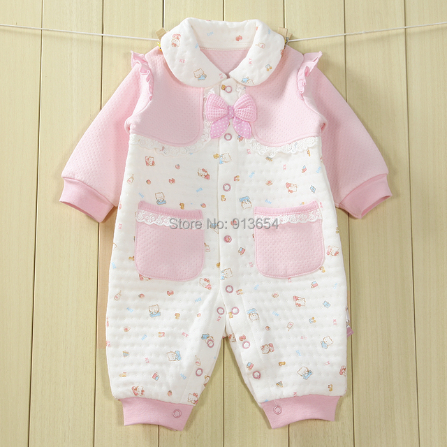 2614d00b7024 new 2017 spring auutmn baby clothes Baby warm rompers baby girls Long  sleeve jumpsuit newborn pink bow overalls infant clothing