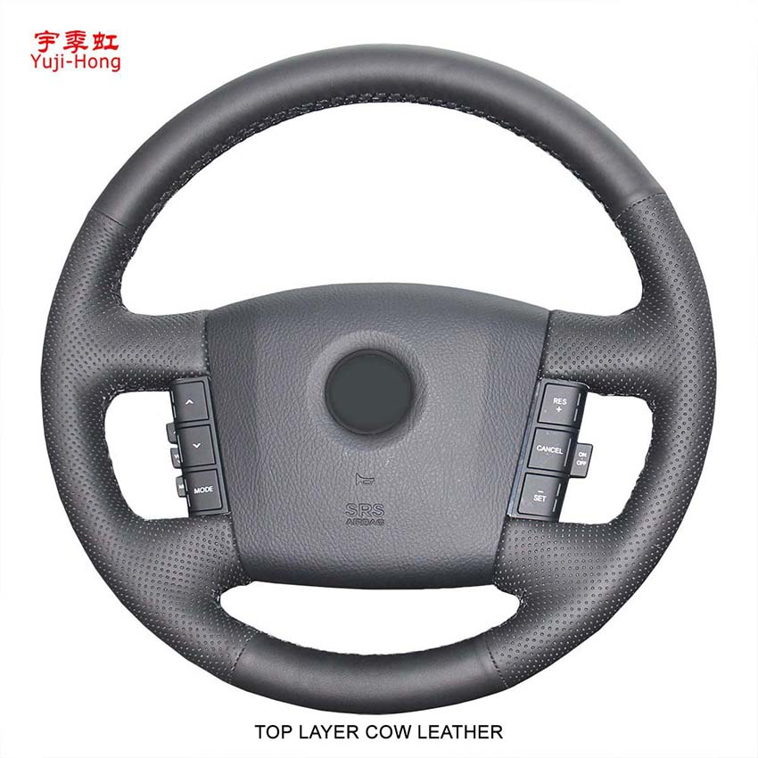 Yuji-Hong Top Layer Genuine Cow Leather Car Steering Wheel Covers Case For KIA Mohave Borrego 2008 Hand-stitched Black