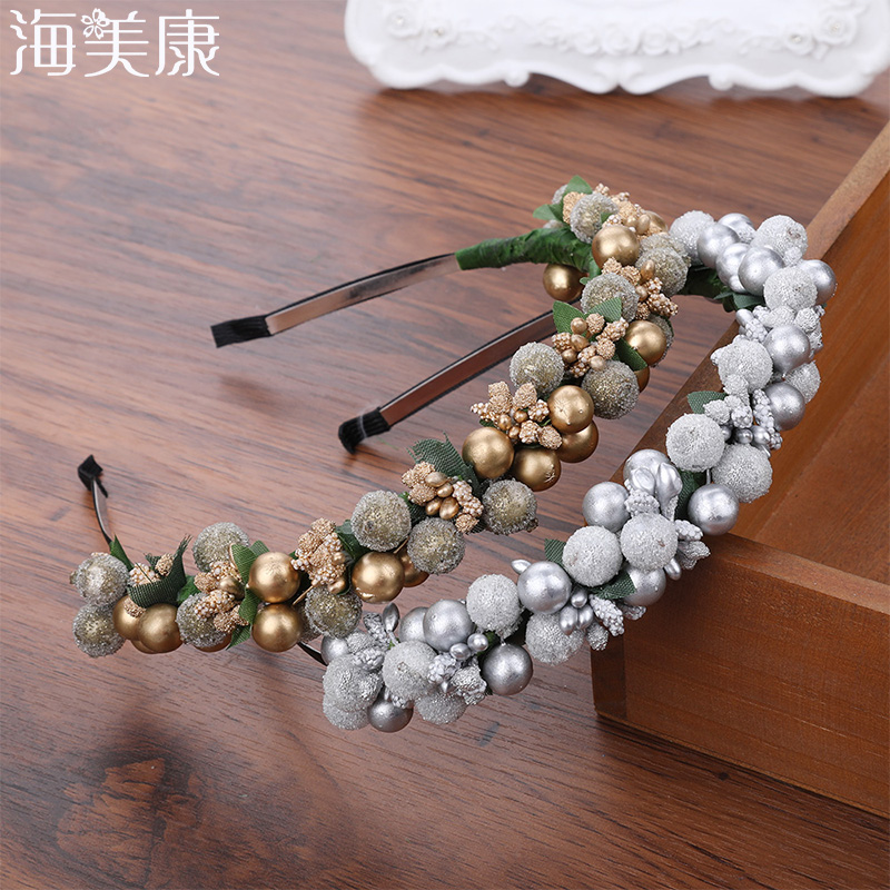Haimeikang  Romantic Glass Beads  Wreath Wedding Bridal Girls Women Fashion Headwear Floral Headband Hair Accessories