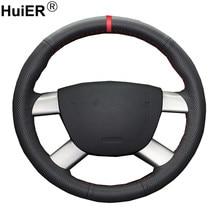 Couverture de Volant de voiture, couture à la main, pour Ford Kuga 2008 – 2011 Focus 2 2005-2011 2007 2008 2009 2010