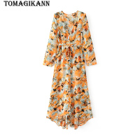 2018 Bohemia Leaf Print V Neck Sashes Women Slim Long Dress Spring Elegant Lady Brand Buttons