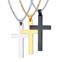 Necklace Men S Fashion Cross Necklaces Pendant For Men Fine Stainless Steel Jewelry 3 Color Gold