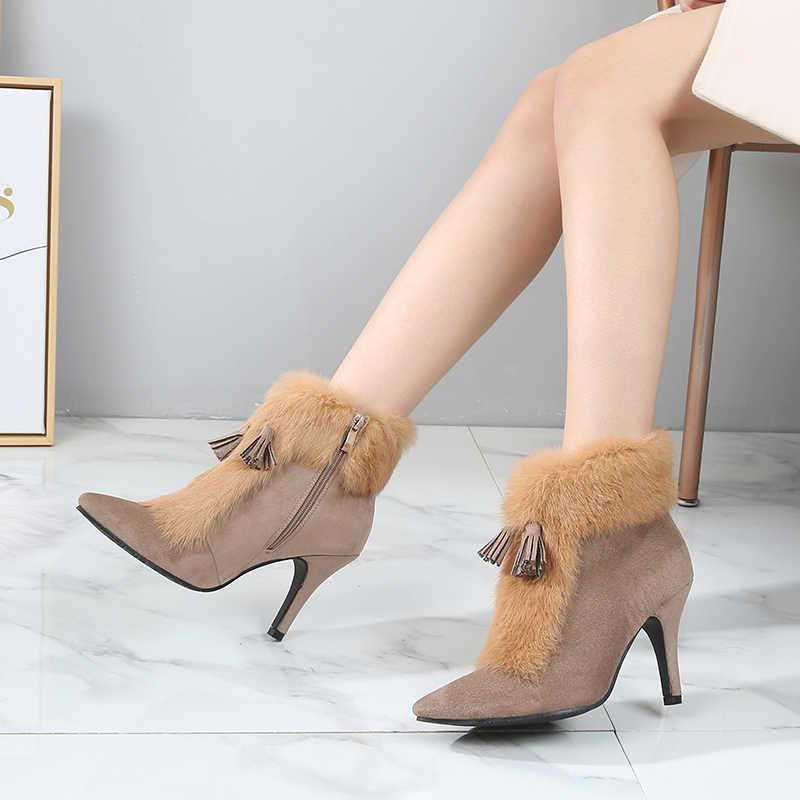 Kadın botları kış yüksek topuklu ayakkabı gerçek tavşan kürk kadın yarım çizmeler sivri burun moda püskül sıcak peluş kış çizmeler boyutu DE